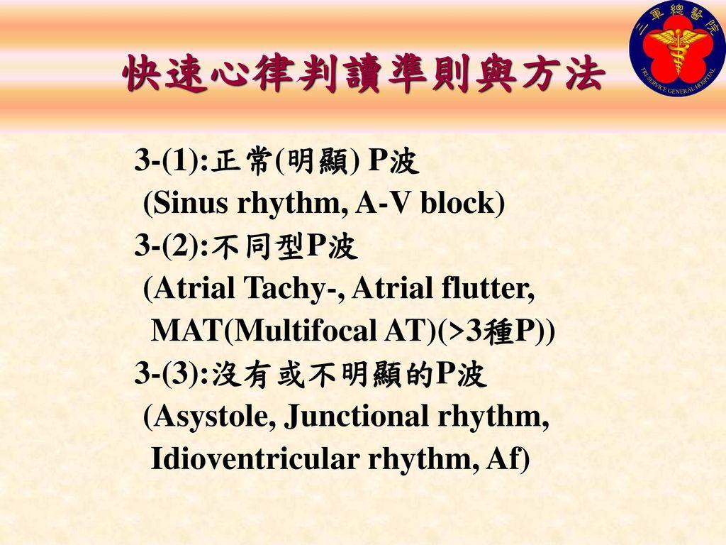 快速心律判讀準則與方法 3-(1):正常(明顯) P波 (Sinus rhythm, A-V block) 3-(2):不同型P波