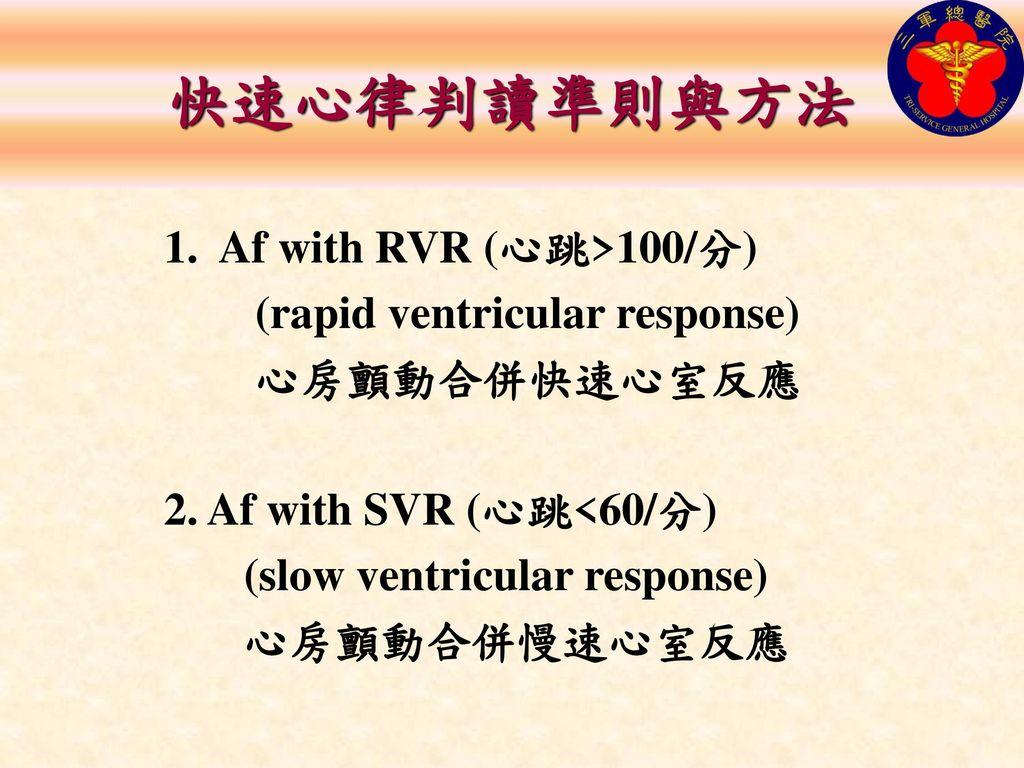 快速心律判讀準則與方法 1. Af with RVR (心跳>100/分) (rapid ventricular response)