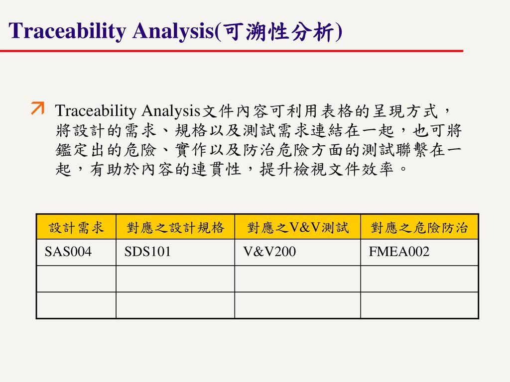 Traceability Analysis(可溯性分析)