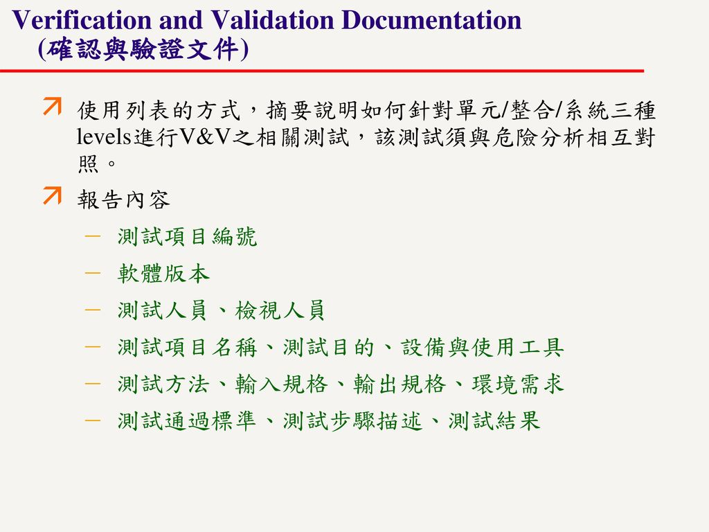 Verification and Validation Documentation (確認與驗證文件)