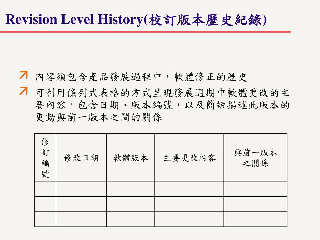 Revision Level History(校訂版本歷史紀錄)