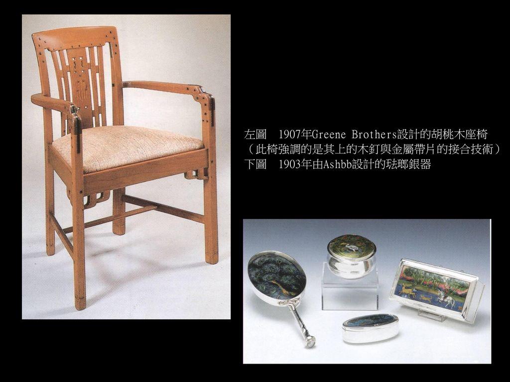 左圖 1907年Greene Brothers設計的胡桃木座椅