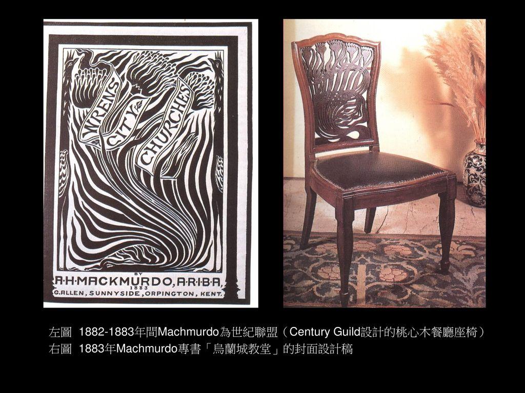左圖 1882-1883年間Machmurdo為世紀聯盟(Century Guild設計的桃心木餐廳座椅)