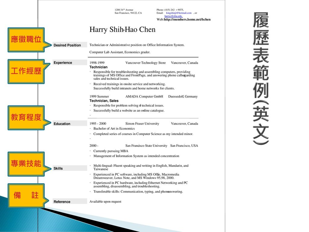 履歷表範例(英文) Harry Shih - H ao Chen 應徵職位 工作經歷 教育程度 專業技能 備 註 ·
