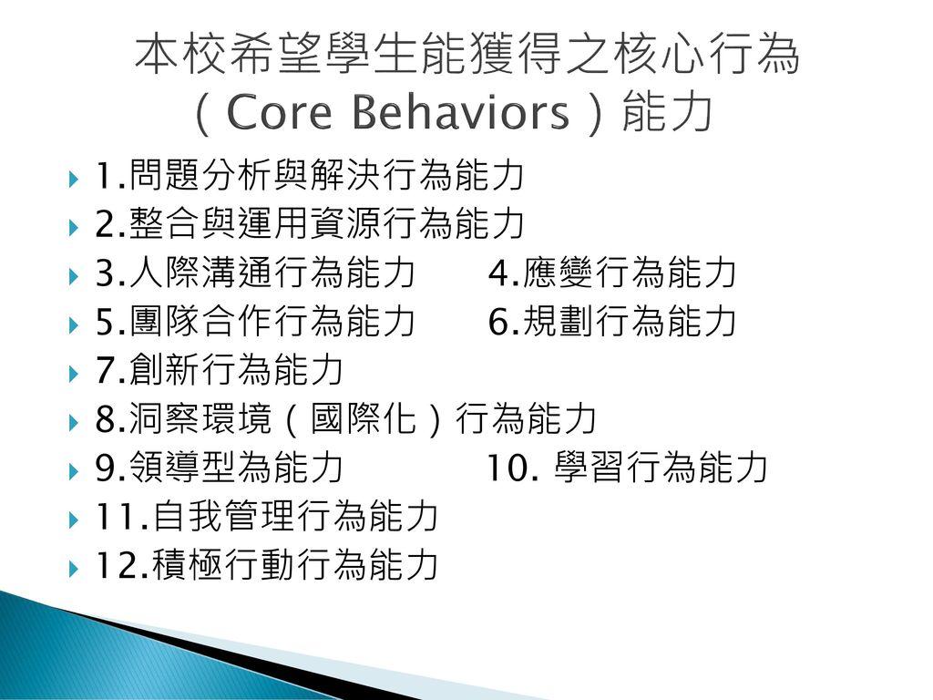 本校希望學生能獲得之核心行為 (Core Behaviors)能力