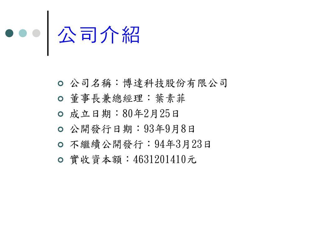 公司介紹 公司名稱:博達科技股份有限公司 董事長兼總經理:葉素菲 成立日期:80年2月25日 公開發行日期:93年9月8日