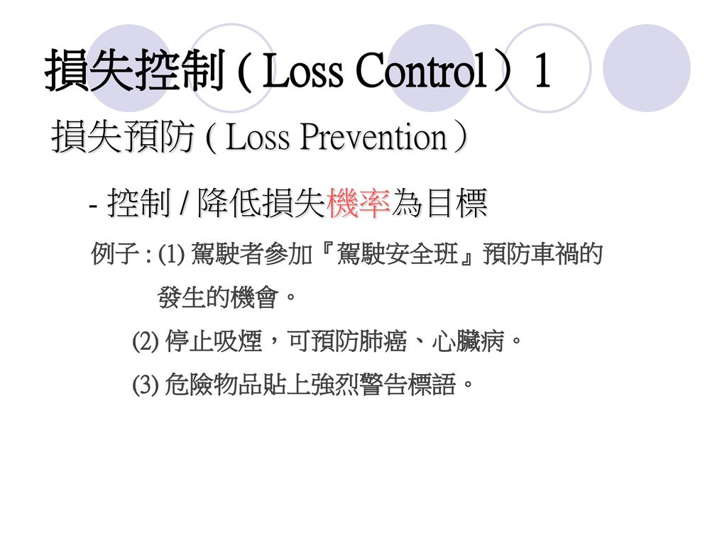 損失控制 ( Loss Control)1 損失預防 ( Loss Prevention) - 控制 / 降低損失機率為目標 發生的機會。