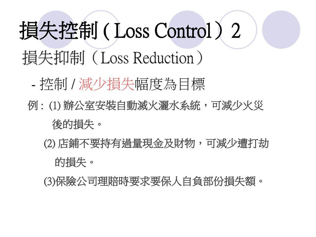 損失控制 ( Loss Control)2 損失抑制(Loss Reduction) 後的損失。
