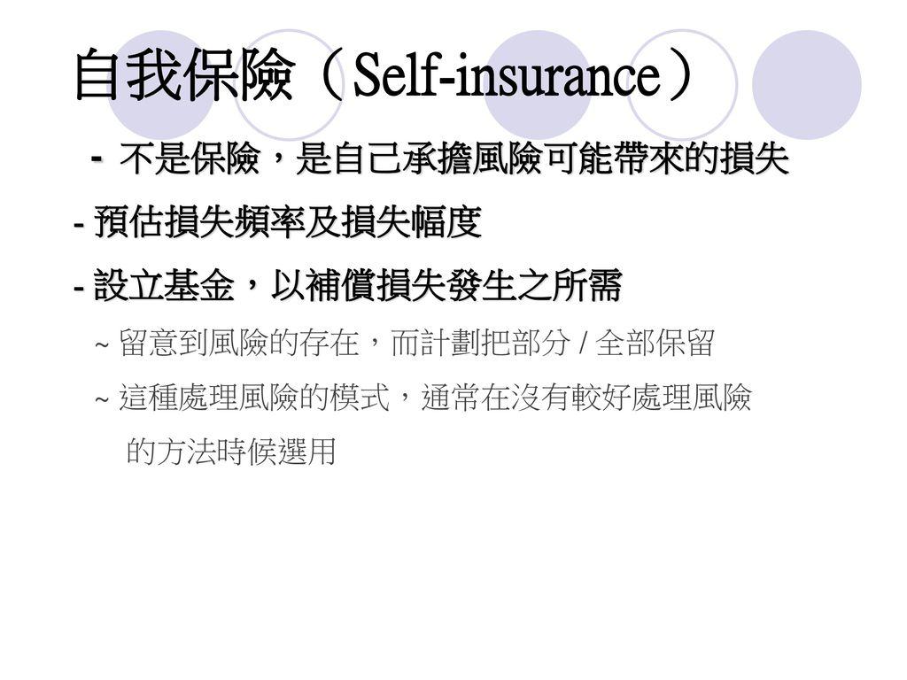自我保險(Self-insurance)
