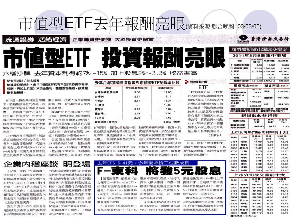 市值型ETF去年報酬亮眼(資料來源:聯合晚報103/03/05)