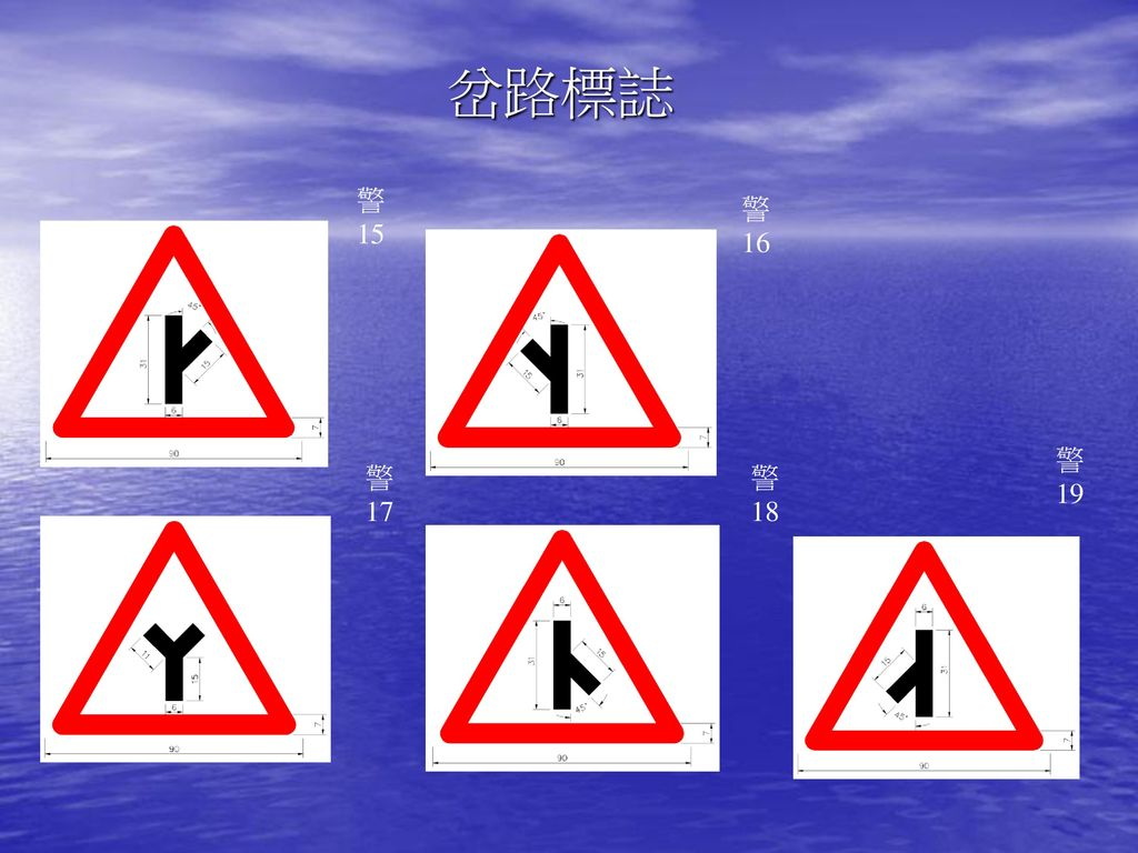 岔路標誌 警 15 警 16 警 19 警 17 警 18
