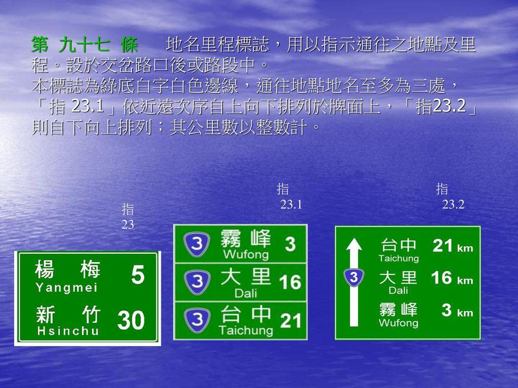 第 九十七 條 地名里程標誌,用以指示通往之地點及里程。設於交岔路口後或路段中。 本標誌為綠底白字白色邊線,通往地點地名至多為三處,「指 23.1」依近遠次序自上向下排列於牌面上,「指23.2」則自下向上排列;其公里數以整數計。