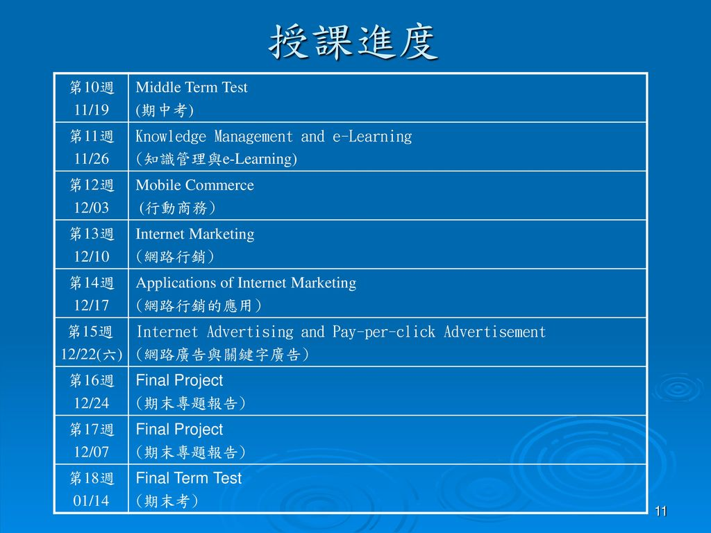 授課進度 第10週 11/19 Middle Term Test (期中考) 第11週 11/26
