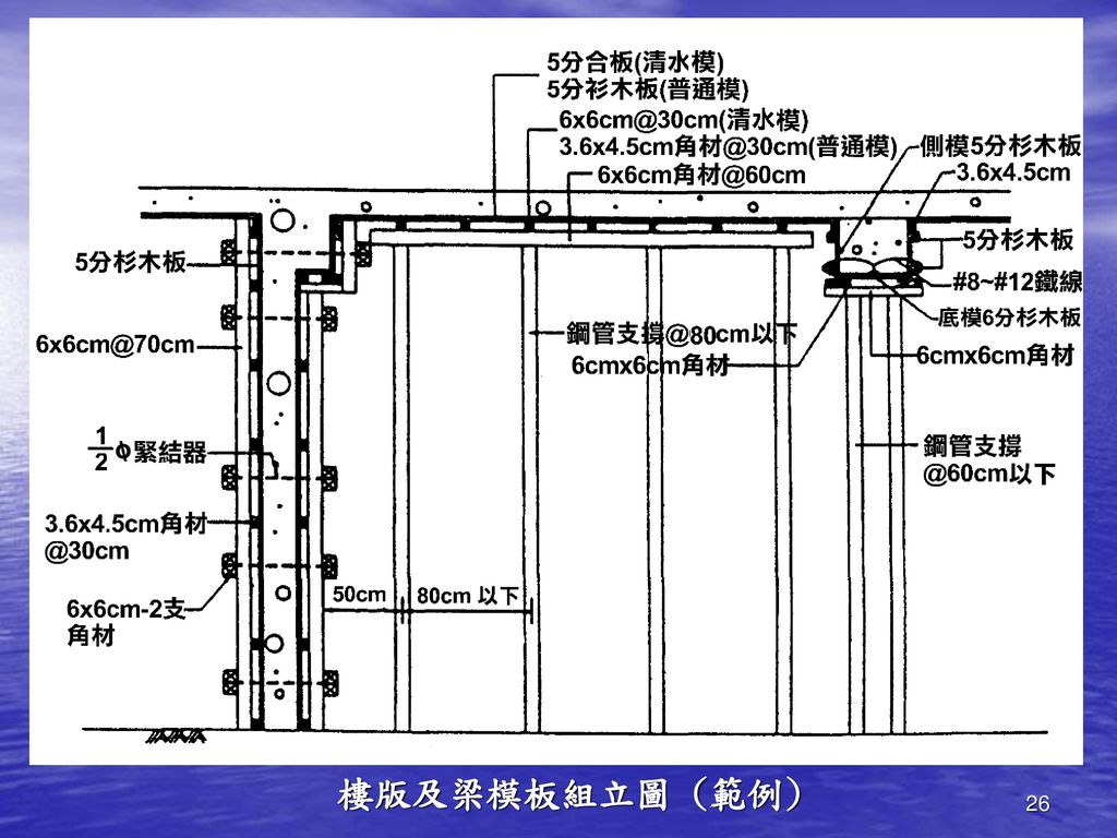 樓版及梁模板組立圖 (範例)