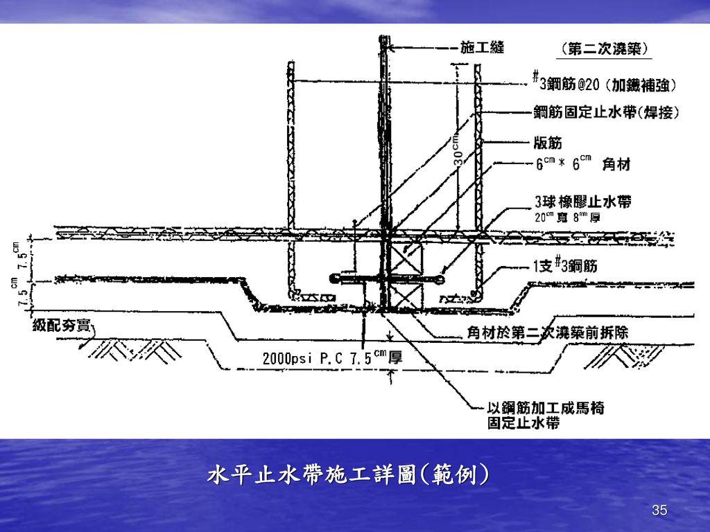 水平止水帶施工詳圖(範例)