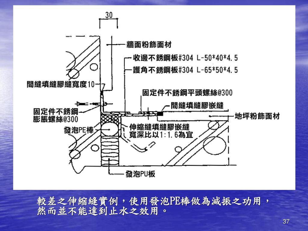 較差之伸縮縫實例,使用發泡PE棒做為減振之功用,然而並不能達到止水之效用。