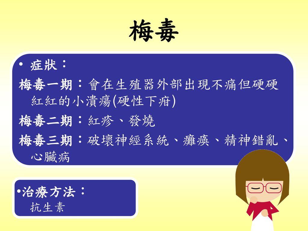 梅毒 症狀: 梅毒一期:會在生殖器外部出現不痛但硬硬紅紅的小潰瘍(硬性下疳) 梅毒二期:紅疹、發燒