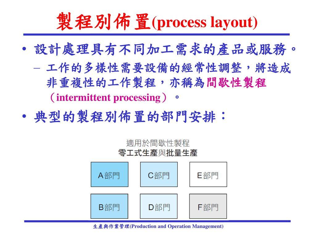 製程別佈置(process layout)