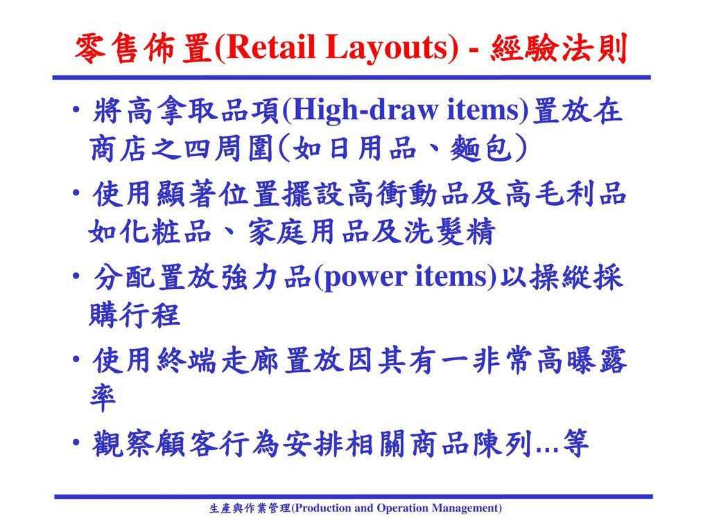 零售佈置(Retail Layouts) - 經驗法則