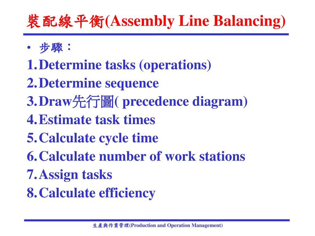 裝配線平衡(Assembly Line Balancing)