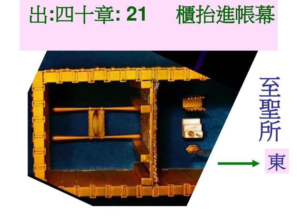 出:四十章: 21 櫃抬進帳幕 至聖所 東