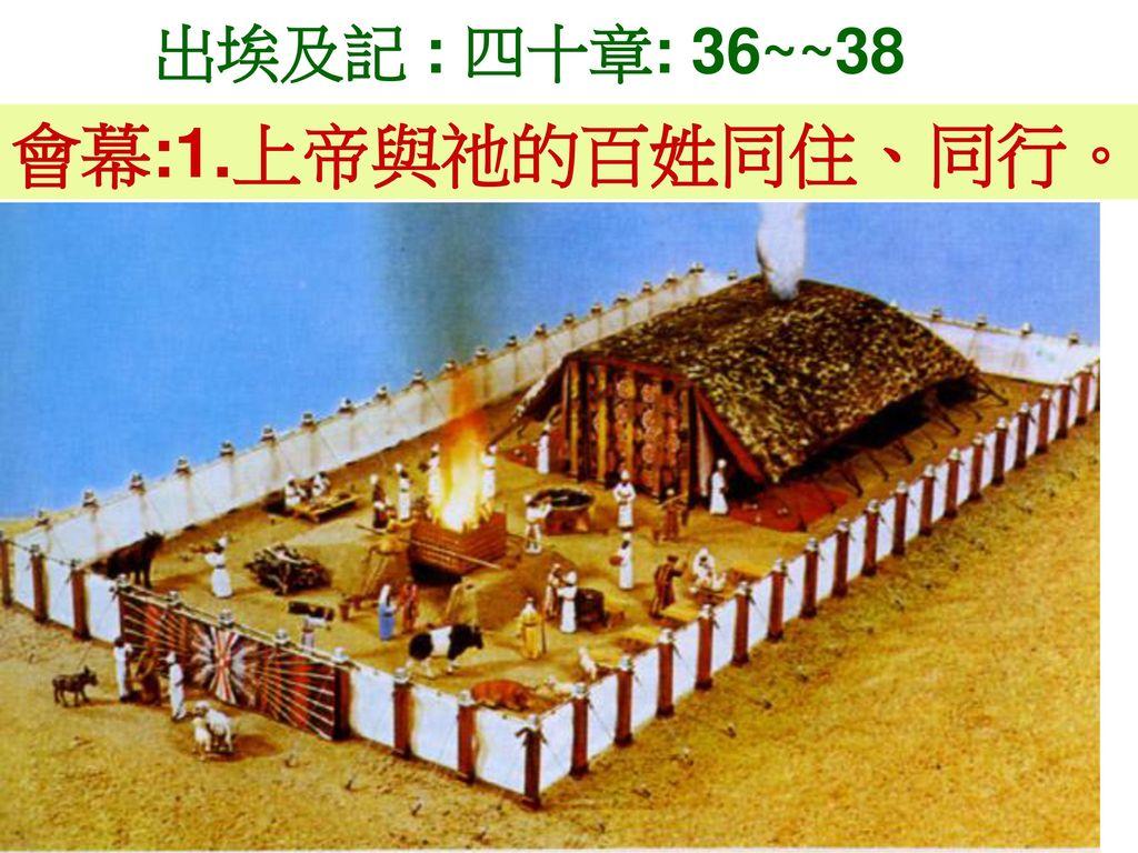 出埃及記 : 四十章: 36~~38 會幕:1.上帝與祂的百姓同住、同行。