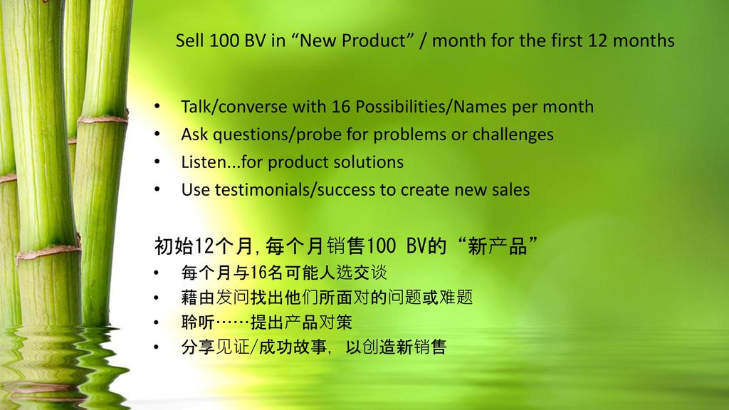Sell 100 BV in New Product / month for the first 12 months