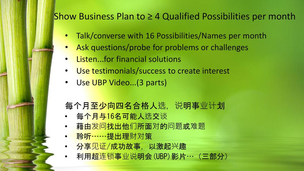 Show Business Plan to ≥ 4 Qualified Possibilities per month