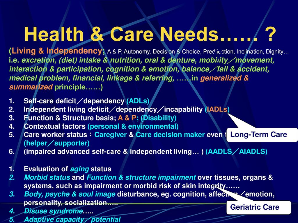 Health & Care Needs…… (Living & Independency; A & P, Autonomy, Decision & Choice, Predilection, Inclination, Dignity…