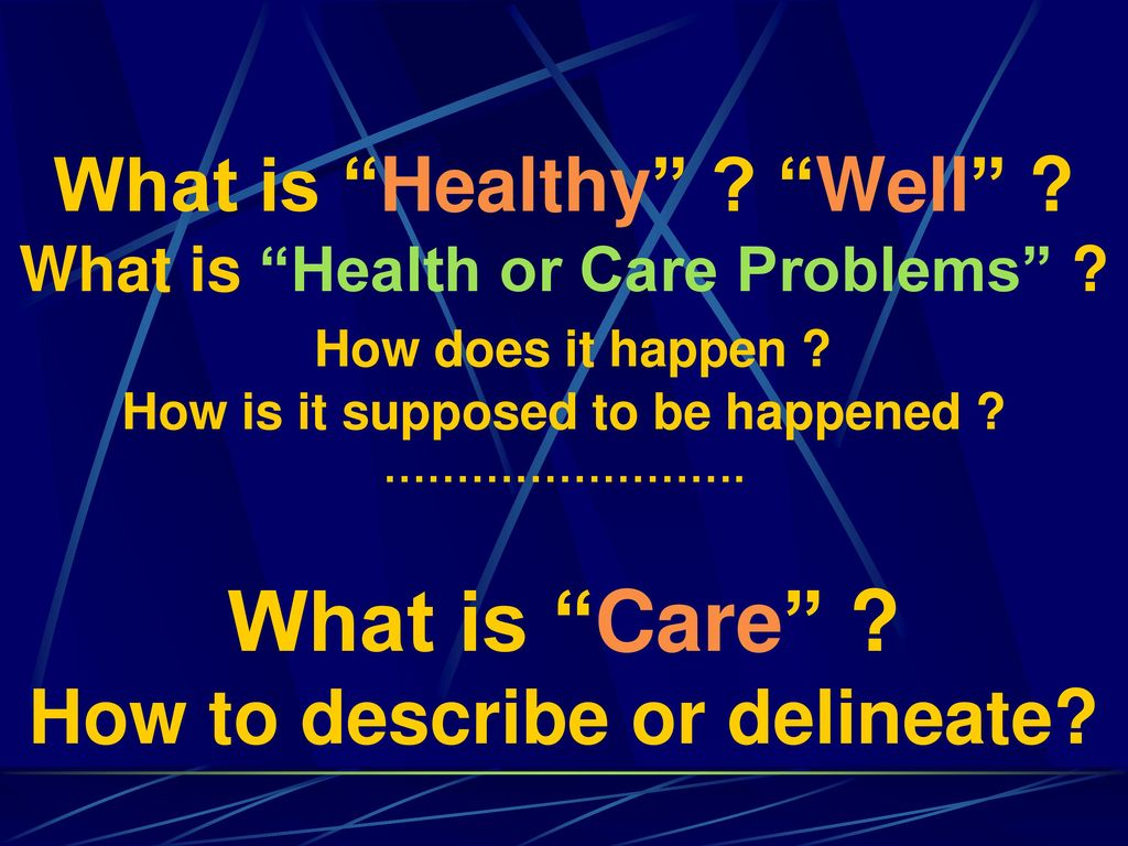 What is Healthy . Well . What is Health or Care Problems