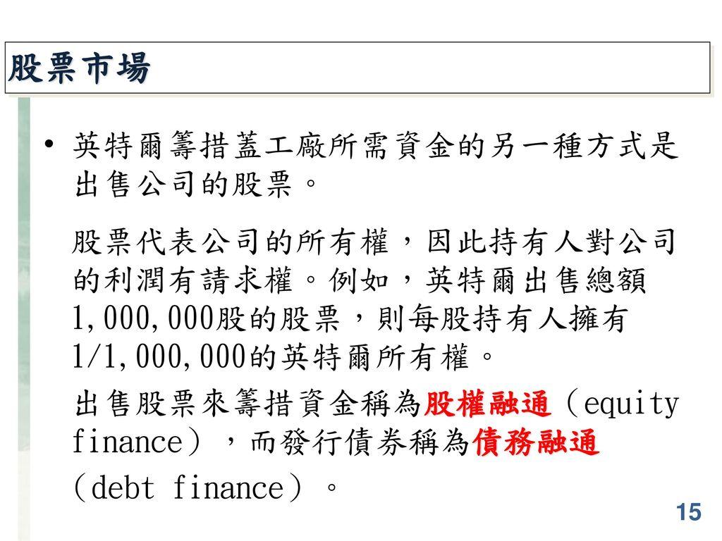 股票市場 英特爾籌措蓋工廠所需資金的另一種方式是出售公司的股票。