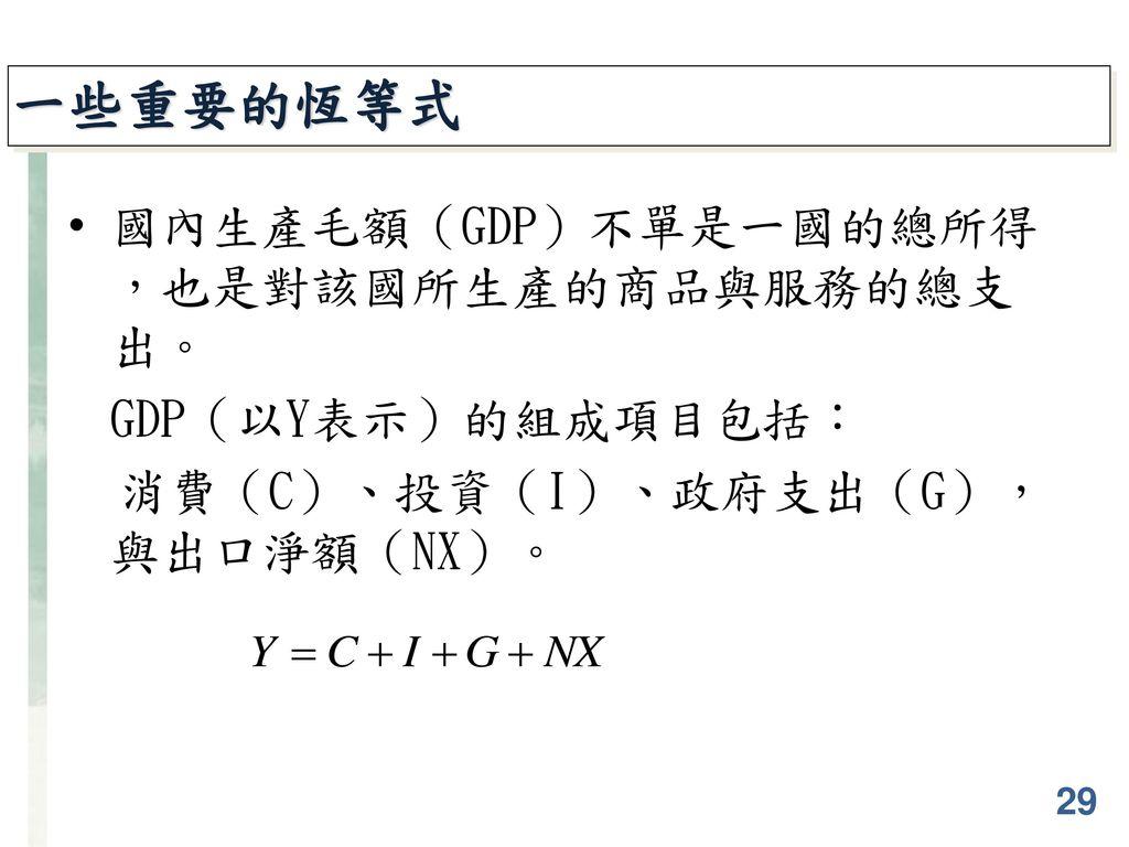 一些重要的恆等式 國內生產毛額(GDP)不單是一國的總所得,也是對該國所生產的商品與服務的總支出。 GDP(以Y表示)的組成項目包括:
