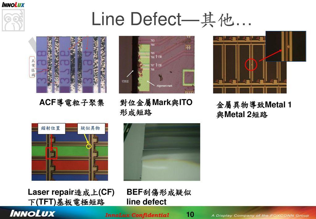 Line Defect—其他… ACF導電粒子聚集 對位金屬Mark與ITO形成短路 金屬異物導致Metal 1與Metal 2短路