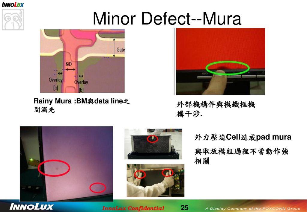 Minor Defect--Mura 外部機構件與模鐵框機構干涉. 外力壓迫Cell造成pad mura 與取放模組過程不當動作強相關