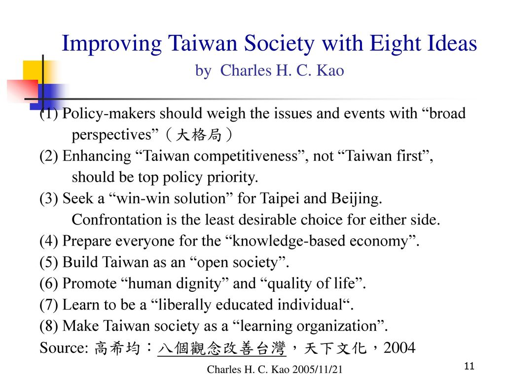 Improving Taiwan Society with Eight Ideas