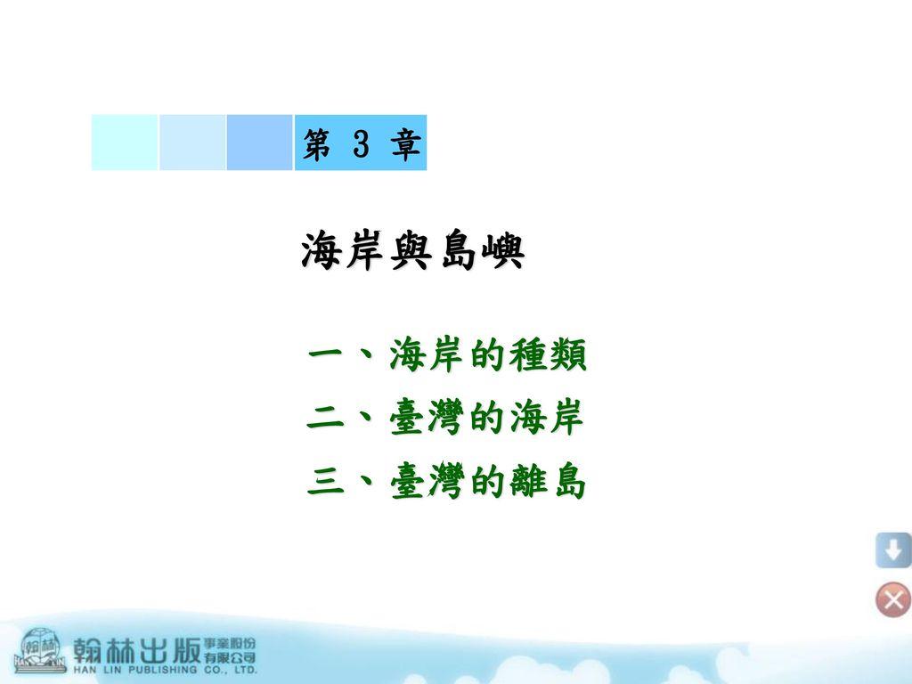 第 3 章 海岸與島嶼 一、海岸的種類 二、臺灣的海岸 三、臺灣的離島