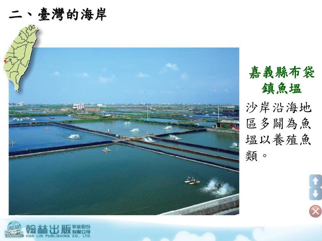 二、臺灣的海岸 嘉義縣布袋鎮魚塭 沙岸沿海地區多闢為魚塭以養殖魚類。