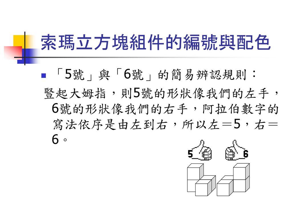 索瑪立方塊組件的編號與配色 「5號」與「6號」的簡易辨認規則:
