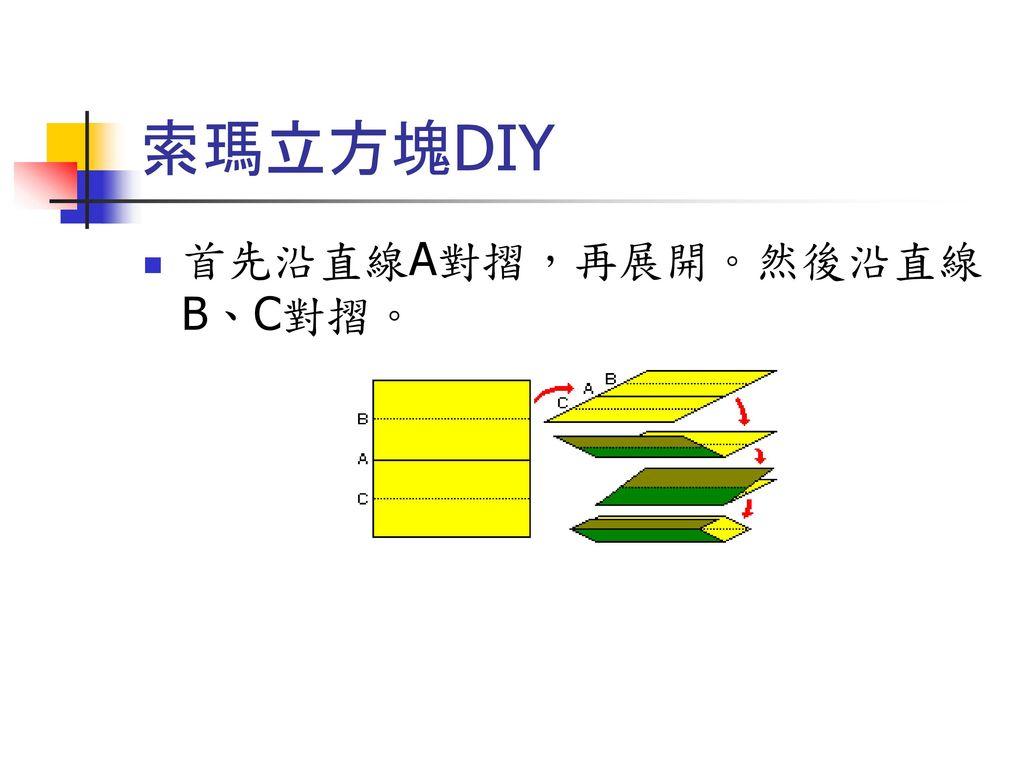 索瑪立方塊DIY 首先沿直線A對摺,再展開。然後沿直線B、C對摺。