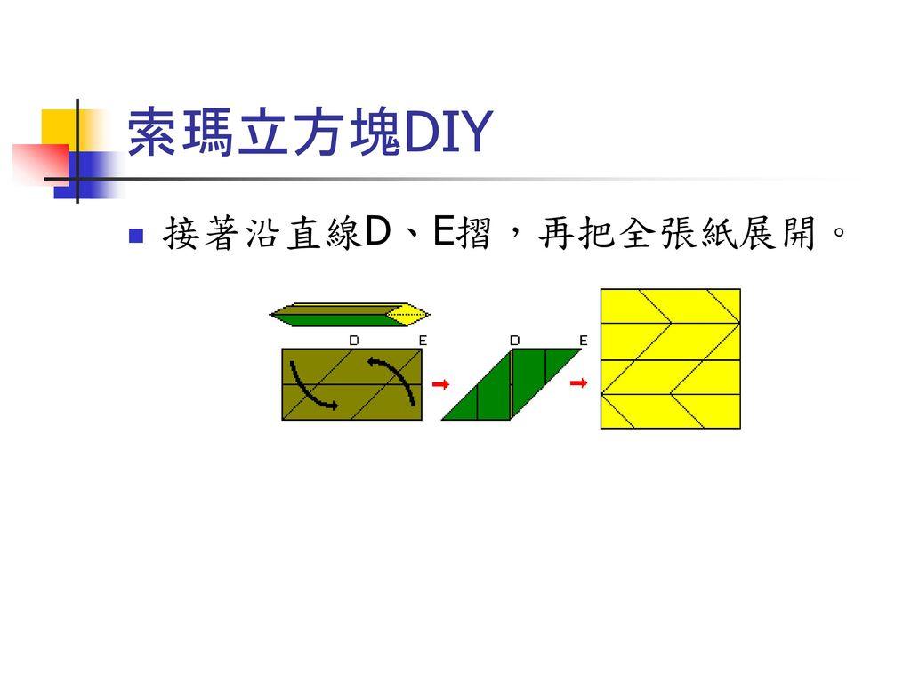 索瑪立方塊DIY 接著沿直線D、E摺,再把全張紙展開。