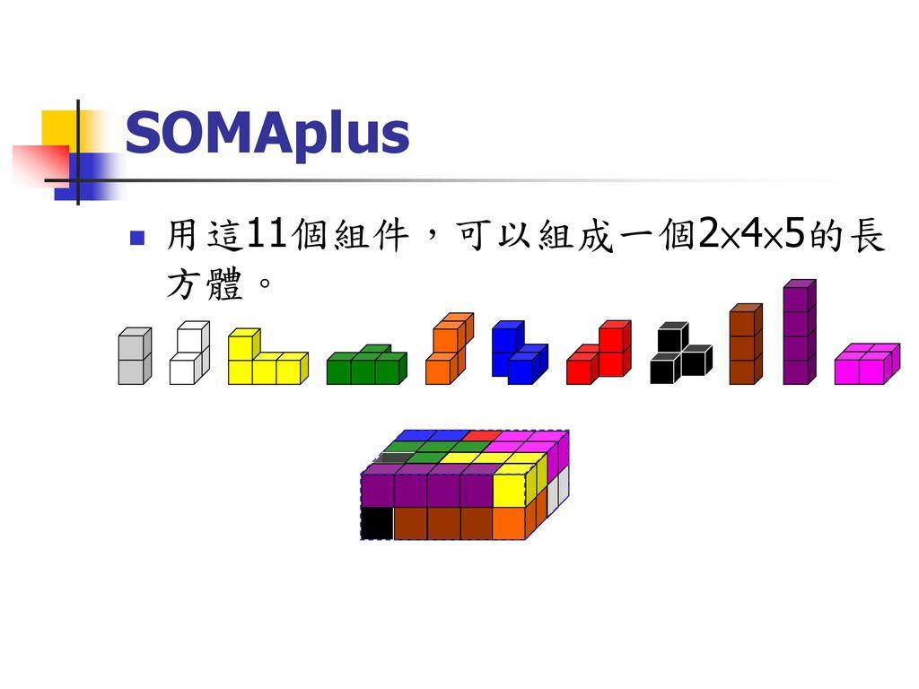 SOMAplus 用這11個組件,可以組成一個2×4×5的長方體。