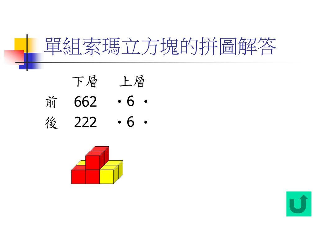 單組索瑪立方塊的拼圖解答 下層 上層 前 後 662 ‧6 ‧ 222