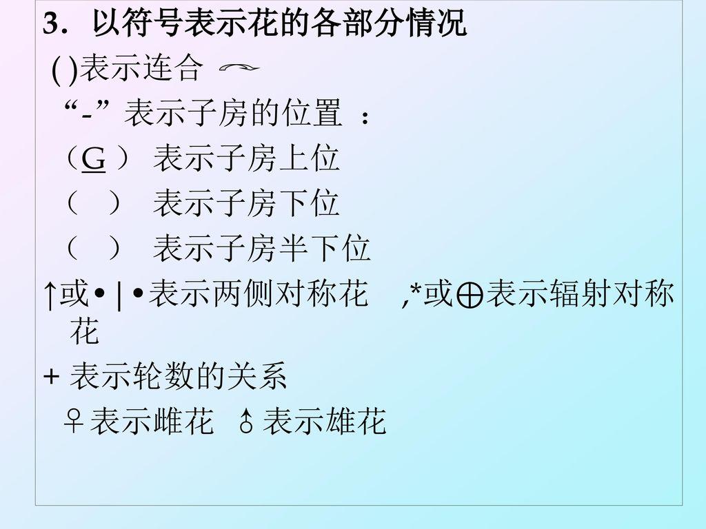 3.以符号表示花的各部分情况 ( )表示连合. - 表示子房的位置 : (G ) 表示子房上位. ( ) 表示子房下位. ( ) 表示子房半下位. ↑或•|•表示两侧对称花 ,*或⊕表示辐射对称花.