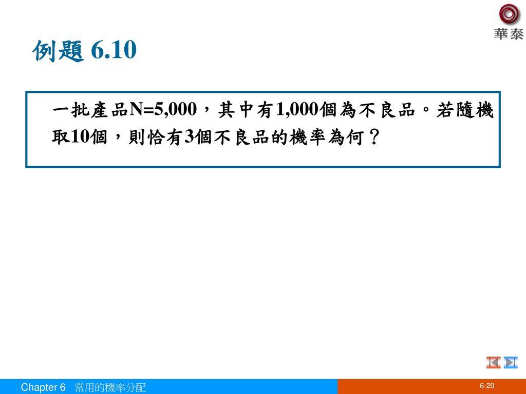 例題 6.10 一批產品N=5,000,其中有1,000個為不良品。若隨機取10個,則恰有3個不良品的機率為何?