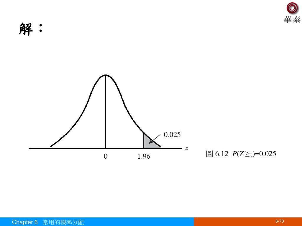 解: 圖 6.12 P(Z ≥z)=0.025 Chapter 6 常用的機率分配