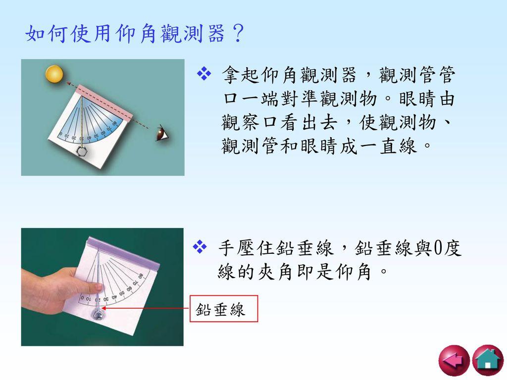 如何使用仰角觀測器? 拿起仰角觀測器,觀測管管口一端對準觀測物。眼睛由觀察口看出去,使觀測物、觀測管和眼睛成一直線。