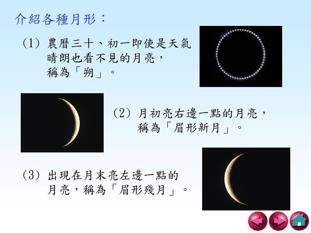 介紹各種月形: (1) 農曆三十、初一即使是天氣 晴朗也看不見的月亮, 稱為「朔」。 (2) 月初亮右邊一點的月亮, 稱為「眉形新月」。