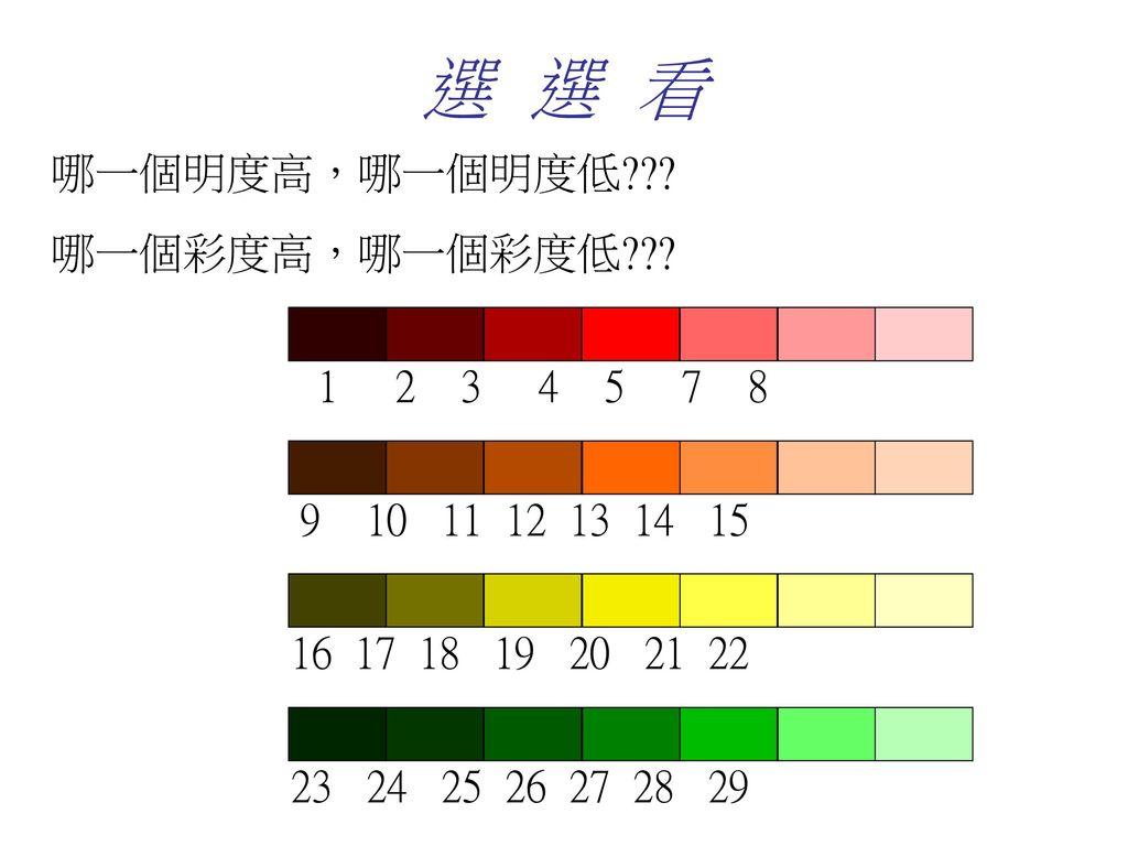 選 選 看 哪一個明度高,哪一個明度低 哪一個彩度高,哪一個彩度低 1 2 3 4 5 7 8