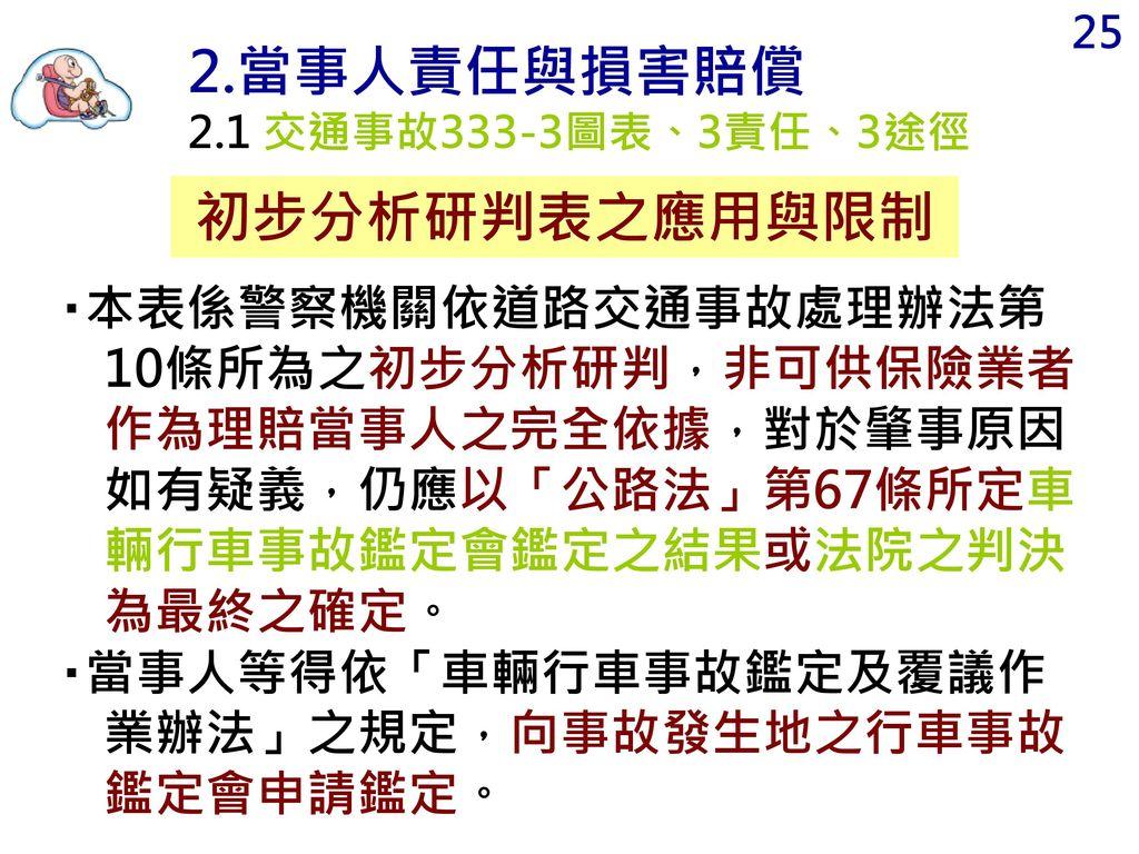 2.當事人責任與損害賠償 初步分析研判表之應用與限制