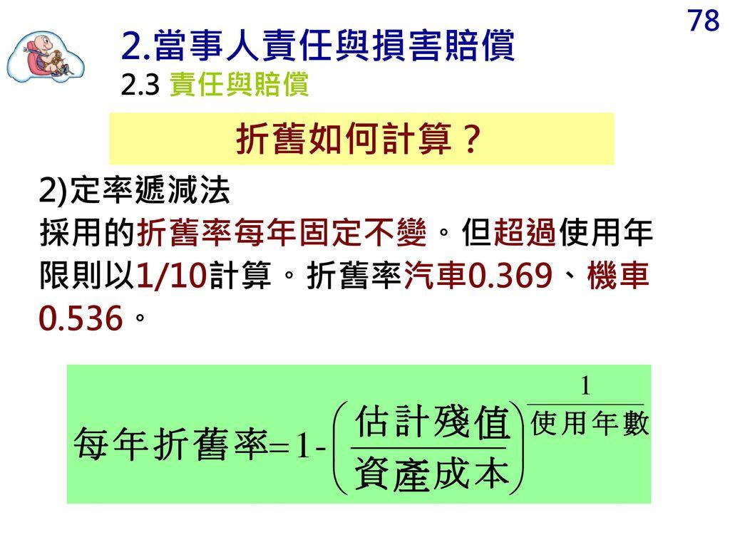 2.當事人責任與損害賠償 折舊如何計算? 2)定率遞減法